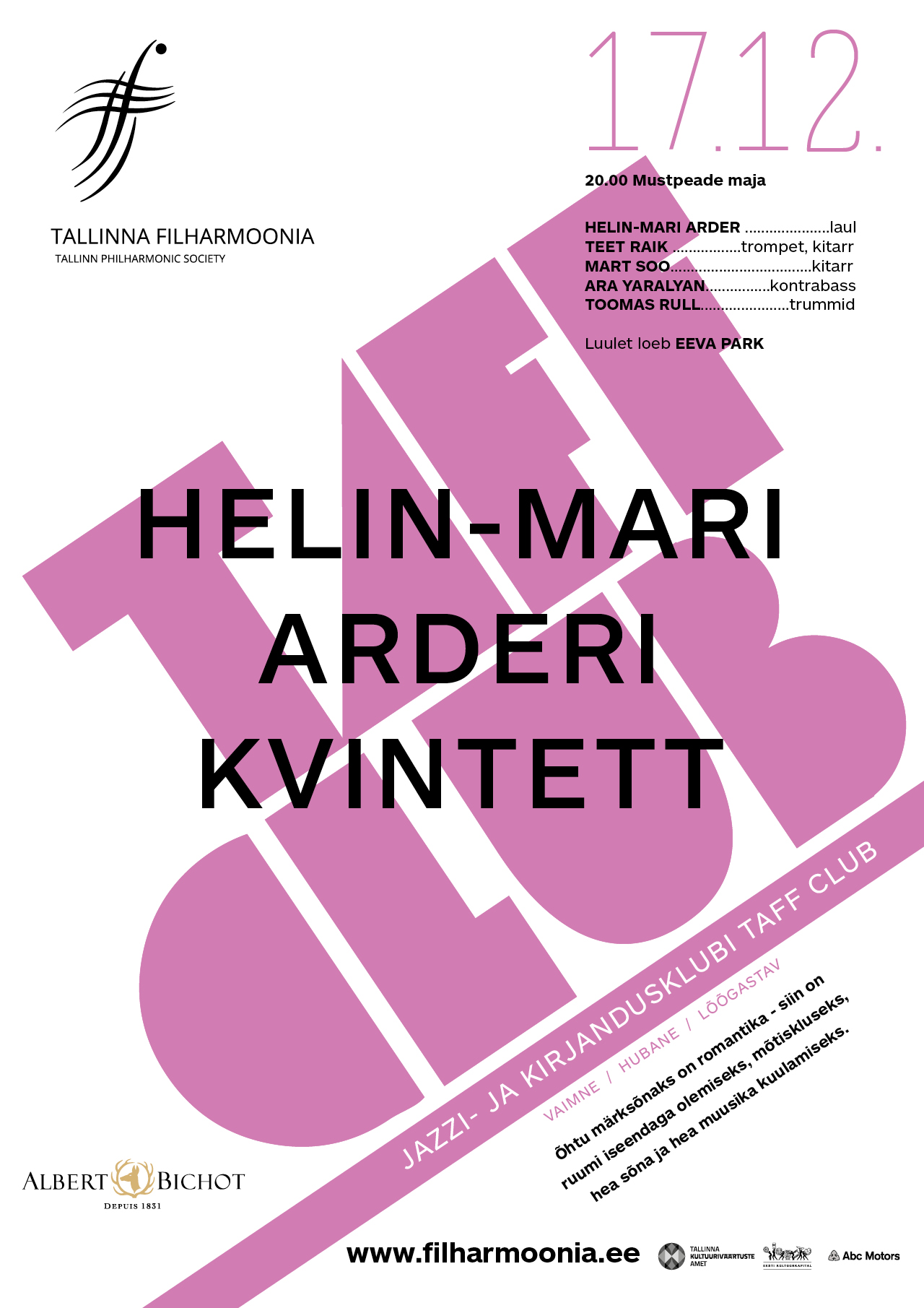 TAFF CLUB. HELIN-MARI ARDERI KVINTETT